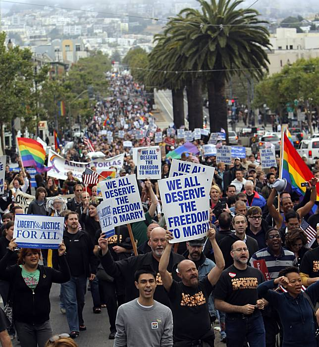 comparing the gay rights movement to Gay rights and the civil rights movement are nowhere near the smae, the civil rights movement was to bring public raciacl discrimination to an end, gay rights is a movement to get gay couples the same rights as a opposite sex couple.